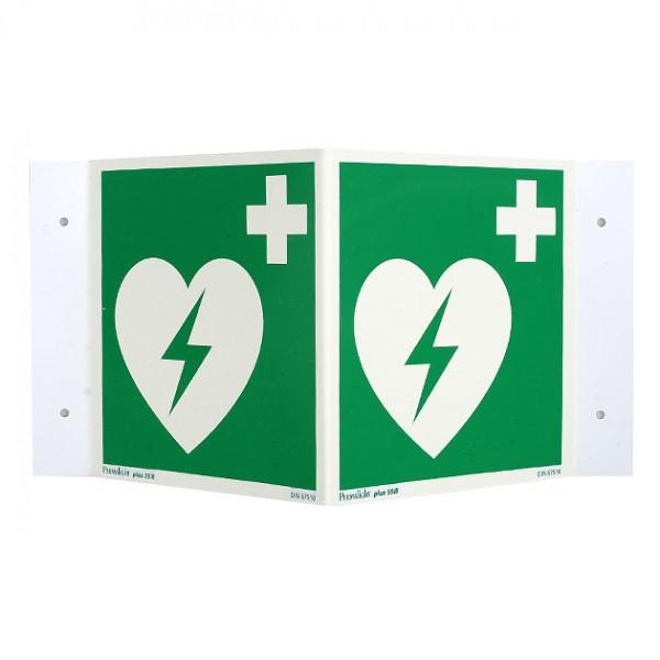 AED rechtwinkliges Nasenschild