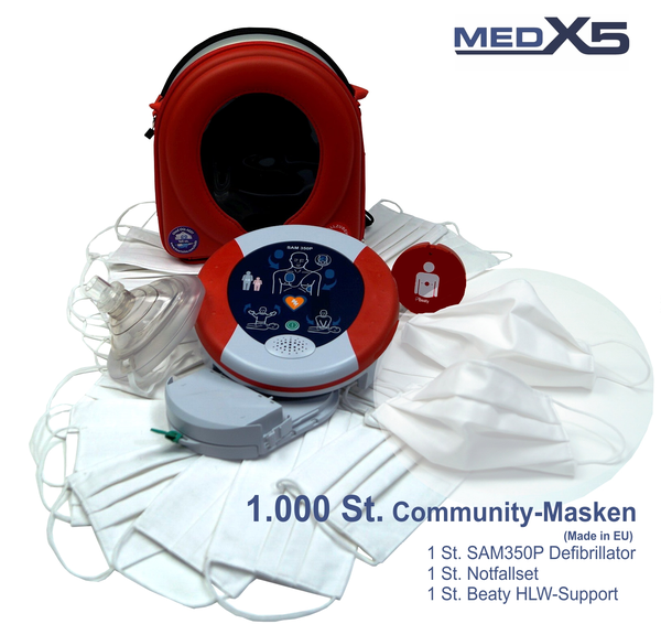 Corona Paket: 1.000 Mund - und Nasenmasken + Heartsine SAM350P Defibrillator